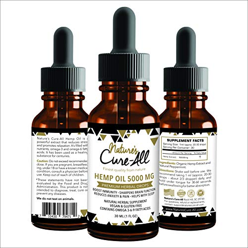 51RKFGNpNbL - (1-Pack) Premium and Powerful Hemp Extract 5000mg | Natural & Herbal Hemp Drops | Made with Organic Whole Plant | Soothing Mint Flavor | Helps with Sleep, Stress, Anxiety, Inflammation & Skin Health
