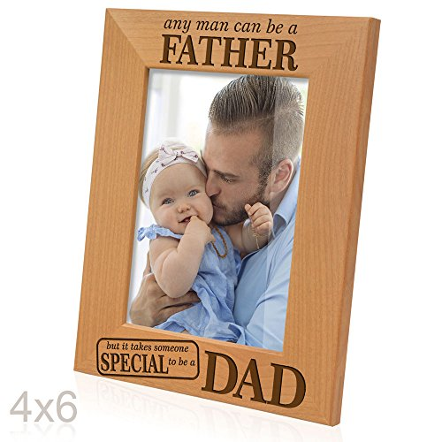 Kate Posh - Any man can be a FATHER, but it takes someone SPECIAL to be a DAD - Engraved Natural Wood Picture Frame, Father of the Groom, Father of the Bride (4x6 Vertical)]()