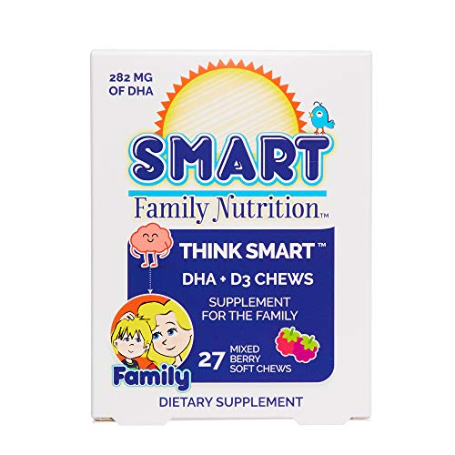 Smart Family Nutrition - Think Smart DHA + D3 Chews, Supports Brain Development and Learning with Omega-3s DHA and D3, for All Ages, 27 Soft Chews