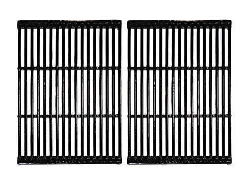Hongso Polished Porcelain Coated Cast Iron Cooking Grid Grill Grates Replacement for Charbroil, Brinkmann, Broil-Mate, Charmglow, Grill Chef, Grill Pro, Grill Zone, Turbo Gas Grill, PCF662(Set of 2)