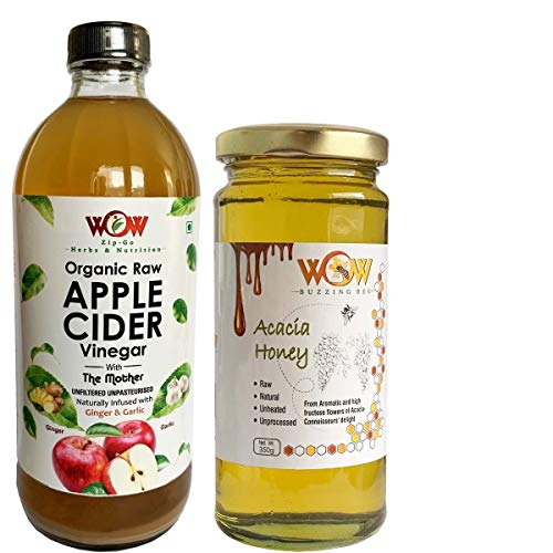 WOW ZIP – GO HERBS & NUTRITION Organic Apple Cider Vinegar Infused with Ginger & Garlic (500 ml) and Honey (350 g)