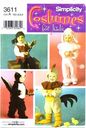 Simplicity 3611 Sewing Pattern Toddlers Pirate Bunny Skunk Rooster Costumes -