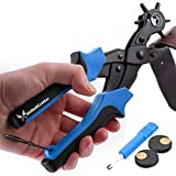 Skilled Crafter Leather Hole Punch. Easily Punches Perfect Round Holes. 2 FREE Extra Large Punch Plates & Handy Ruler. Professional Multi Size Tool. Best Puncher for Belt, Saddle, Watch Strap, Shoe, Card, Fabric, Rubber, Paper etc + 2 Yr Warranty