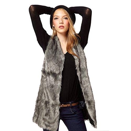Bias Cut Skirt Cotton (ANJUNIE Womens Faux Fur Waistcoat Vest Gilet Outwear Coat Mid-Long Jacket(Gray,XL))