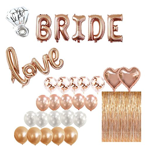 Bridal Shower & Bachelorette Party Decorations kit Rose Gold – 1 Fringe Curtain, 1 BRIDE balloon, 1 Love balloon, 1 ring balloon, 2 Heart balloons, 5 Rose Gold 5 Blush Pink 5 White 5 Confetti balloo