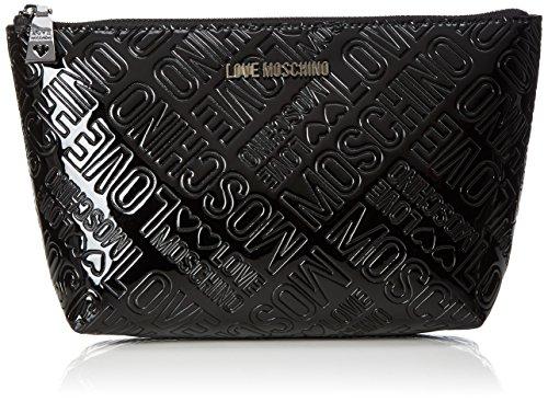 Love Moschino - Bustina Embossed Patent Pu Nero, Carteras de mano Mujer, Schwarz (Black), 14x24x7 cm (B x H T)