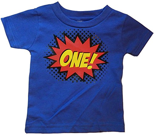 Custom Kingdom Baby Boys' One Superhero Colorful First Birthday T-Shirt (12 Months, Royal Blue) ()