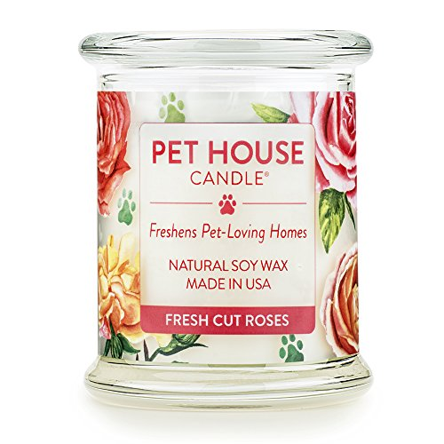 Cut Glass Jar - One Fur All - 100% Natural Soy Wax Candle, 20 Fragrances - Pet Odor Eliminator, 60-70 Hrs Burn Time, Non-toxic, Eco-Friendly Reusable Glass Jar Scented Candles – Pet House Candle, Fresh Cut Roses