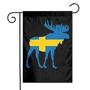 ZZATAA Swedish Flag Moose Garden Flag Decoration Banner Decorative Sweet Home Yard Festival Outdoor 12X18inch