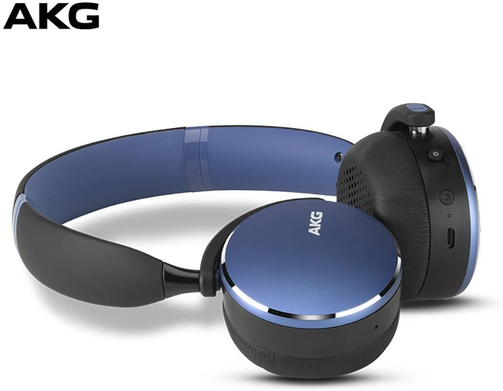 AKG Y500 On-Ear Foldable Wireless Bluetooth Headphones- Blue (US Version) (Renewed)