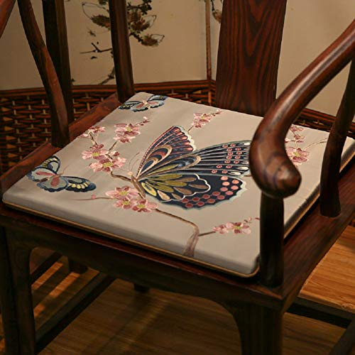 JYTT Butterfly Flower Cotton Breathable Embroidered Couch Chair Pads Sofa Seat Pad Sponge Dining Chair Redwood Padded Cushion Bench Chinese Stylered Gray Blue Yellow Beige-b 45x38x3cm (Pads Chair Embroidered)