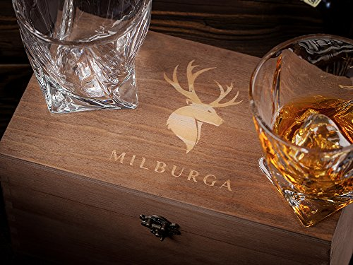 Premium Quality Twist Whiskey Glasses Set of 2 in Hand Crafted Wooden Box - Lead-Free Crystal Old Fashioned Tasting Tumblers For Scotch, Whisky, Liquor, Bourbon 10 oz. Luxury Gift Set For Men or Women by MILBURGA (Image #2)
