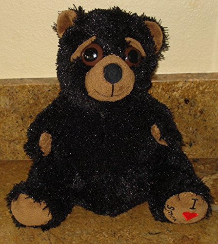 Black Shaggy Bear With Big Eyes Measures 11 Inches Sitting (Black Bear Shaggy)