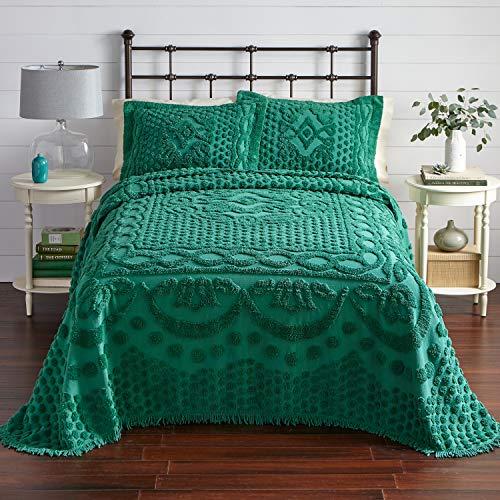 BrylaneHome Georgia Chenille Bedspread - Green, Queen (Bedspread Chenille Queen)
