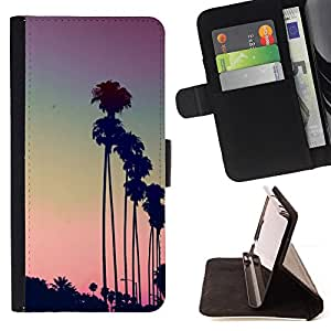 For Samsung Galaxy S5 V SM-G900 Los Angeles La Purple Sunset Palm Trees Style PU Leather Case Wallet Flip Stand Flap Closure Cover