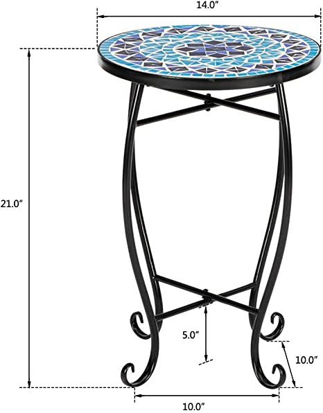 ,Sea Wrought Iron Livingroom Coffee Table Plant Table Outdoor Garden Pool Mosaic Round Terrace Bistro Table with Coloured Glass 35 * 35 * 52Cm WHWVV Patio Side Table