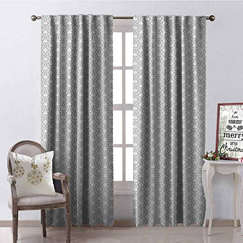 GloriaJohnson Damask Shading Insulated Curtain Victorian Pattern with Flowers and Swirls Vintage Inspirations Medieval Foliage Soundproof Shade W52 x L63 Inch Pale Grey White