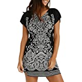 Zainafacai Mini Dres,Fashion Womens Casual Ethnic Printed V-Neck Short Sleeve Summer Short Dress (Black, M)