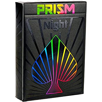 Premium Playing Cards, Deck of Cards, Cool Prism Night Gloss Ink, Best Poker Cards, Unique Bright Rainbow & Red Colors for Kids & Adults, Black Playing Cards Games, Standard Size