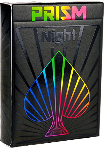 Premium Playing Cards, Deck of Cards, Cool Prism Night Gloss Ink, Best Poker Cards, Unique Bright Rainbow & Red Colors for Kids & Adults, Black Playing Cards Games, Standard Size ()