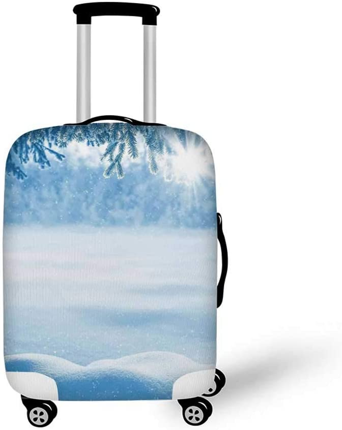 19.6W x 28.9H Winter Decorations Stylish Luggage Cover,Snowy Landscape at Gloomy Sunrise Light in Mountain Forest Serene Photo for Luggage,M