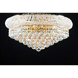 Swarovski Crystal Trimmed Chandelier! Flush Empire Crystal Chandelier 15X24