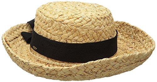 Scala Women's Raffia Hat with Herringbone Bow, Natural, One Size -