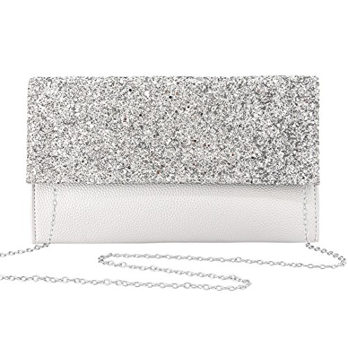 Gabrine Womens Evening Envelop Shoulder Bag Clutch Purse Handbag Shiny Sequins for Wedding Party Prom(Silver white) by Gabrine