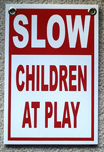 1Pc Heart-stirring Unique Slow Children at Play Sign Board Protection Watch Kids Decal Please Stop Safety Gate Fence Yard Pole Road Street Driveway Caution Traffic Signs Size 8