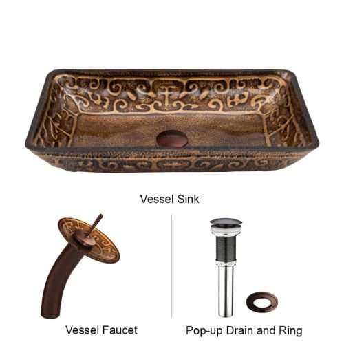 VIGO Rectangular Golden Greek Glass Vessel Bathroom Sink and Waterfall Faucet with Pop Up, Oil Rubbed (Crystal Glass Lavatory Sink)