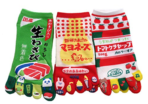 king-original-japanese-five-toe-ankle-socks-3-pairs-wasabi-mayonnaise-and-ketchup