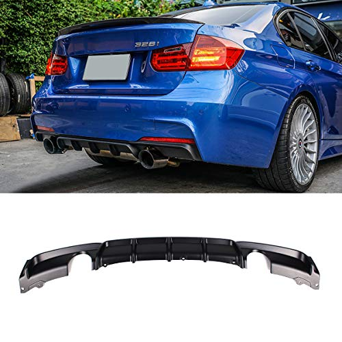 Fandixin F30 Diffuser, FRP M Style Rear Bumper Diffuser Lip Single Muffler Dual Out for BMW 3 Series F30 320i 325i 328i 335i M-Tech M Sport (Matt Black)