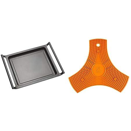 BRA Efficient Plancha asador Liso, 45 cm, Aluminio Fundido con Antiadherente Teflon Platinum Plus + Salvamanteles, Silicona, Naranja, 2 Unidades