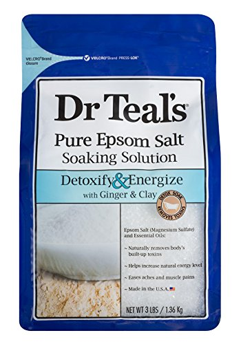 Dr. Teals Pure Epsom Salt Soaking Solution, Detoxify & Energize with Ginger & Clay, 3 Pound Bag