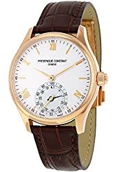 Frederique Constant Horological Smartwatch Silver Dial Brown Leather Mens Watch FC-285V5B4