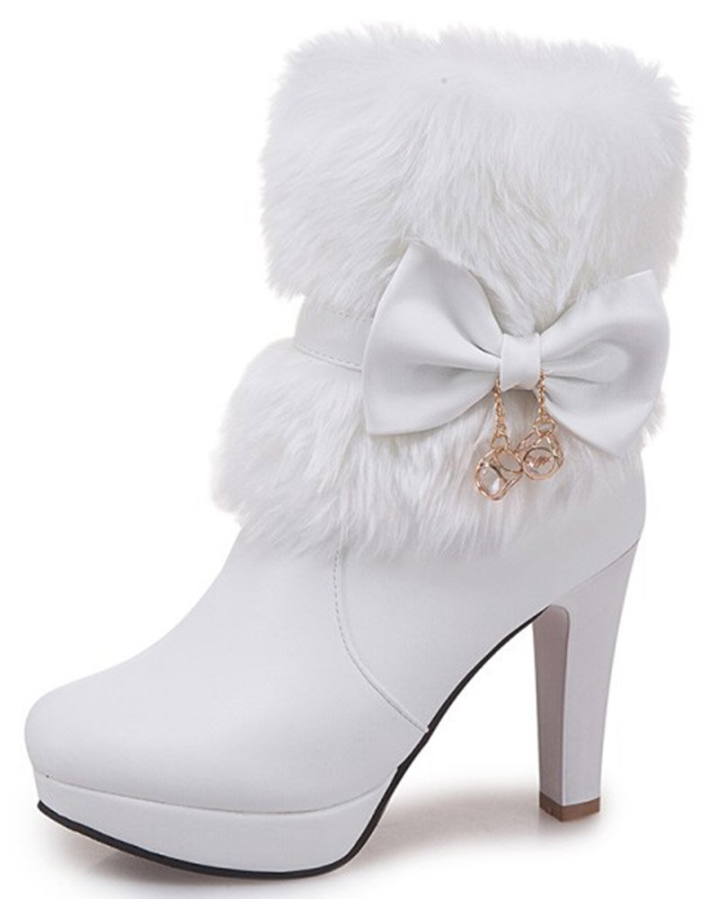IDIFU Women's Elegant Fluffy Fur Zip up Chunky High Heeled Pointy Toe Ankle Boots with Bows (White, 10 B(M) US)