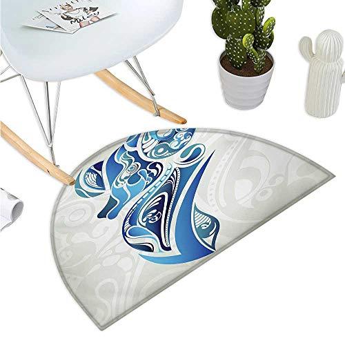 Zodiac Aries Semicircular Cushion Artistic Animal Figure with Floral Swirls in Blue Shades Halfmoon doormats H 43.3