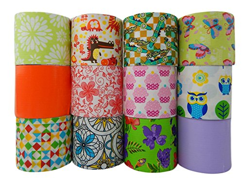 Unik Craft Duct Tape Variety Assortment 12 Count, Each Roll 1.88 Inches x 5.5 yards (Multi 7)