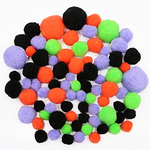 Fright Night Halloween Acrylic Craft Kit Pom Poms - 160 Pieces - Assorted Colors and Sizes -