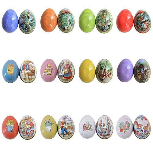 Smartcoco Easter Colorful Eggs Shaped Rabbit Candy Box Tin Candy Box Storage Organizers for Adults Kids Gift (12 Packs)