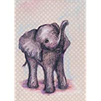 "Oopsy Daisy Elephant Baby Canvas Wall Art, Gray, 10"" x 14"""