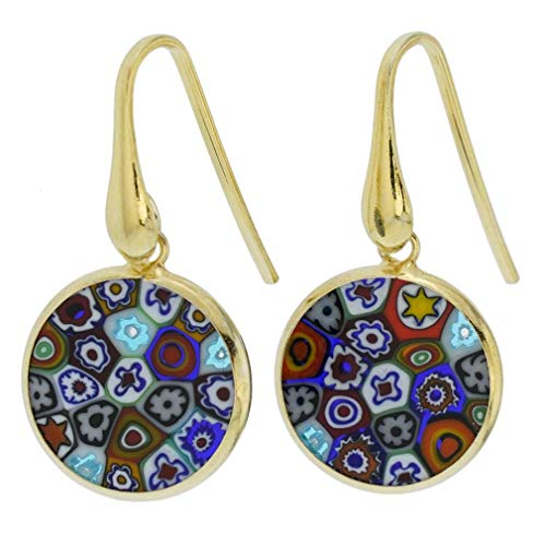 GlassOfVenice Murano Glass Millefiori Round Dangle Earrings - Gold