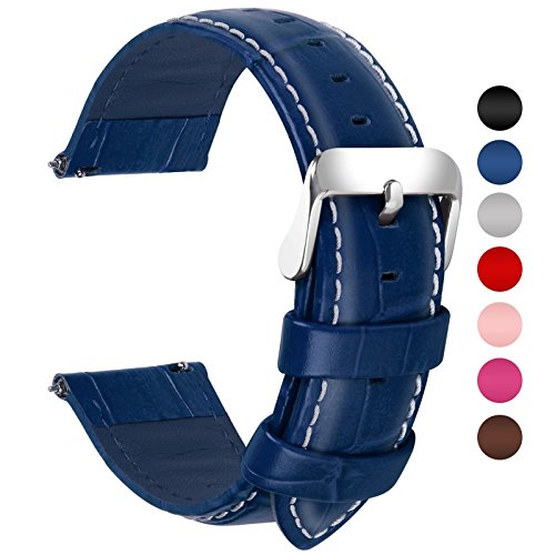 Blue Leather Strap - Fullmosa 7 Colors for Quick Release Leather Watch Band, Bamboo Series Genuine Leather Replacement Watch Strap with Stainless Metal Clasp 22mm Dark Blue