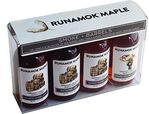 Runamok Maple Organic Vermont Maple Syrup Sampler | Smoke + Barrels Maple Syrup Pairing Collection | 2 oz (4 count) | 60mL | Smoked and Barrel Aged Organic Maple Syrup