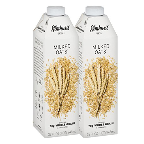 Elmhurst Milked - Oat Milk - 32 Fluid Ounces (Pack of 2). Only 5 Ingredients, 20g Whole Grain, Non Dairy, No Added Gums or Emulsifiers, Vegan