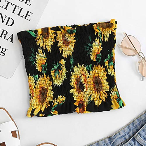 Pleated Bustier - Women Bandeau Crop Top Tube Crop Top Stretchy Bra Tube Strapless Sunflower Bandeau Tops Bustier