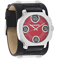 Rockwell Men's AS101 Assassin Stainless Steel Case with Black Leather Band and Red Watch