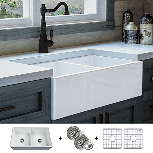 - Luxury 33 inch Pure Fireclay Modern Farmhouse Kitchen Sink in White, Double Bowl, Flat Front, includes Stainless Steel Grids and Drains, FSW1003 by Fossil Blu ...