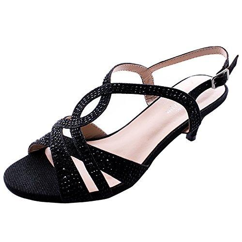 Designer Fashion Heel (Sol Mia Wedding Shoes by Comfortable Low Heel Dress Glitter Bridesmaid Prom Designer Slingback Sandals, Black 9 B(M))