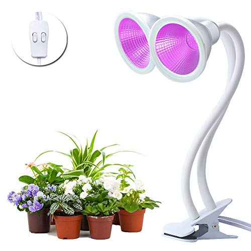 CHINLY Indoor Plant Grow Lights, 2x12W Full Power 60 LED Blubs Red & Blue Spectrum with Dual Head Control Adjustable Gooseneck, Clip for Indoor Plant Greenhouse Hydroponic (Cooling Heatsink Aluminum Head)